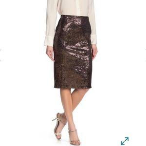 Everleigh Mauve Sequin Pencil Skirt S NWT